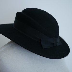 Vintage Black Wool Hat Felt Structured '80s